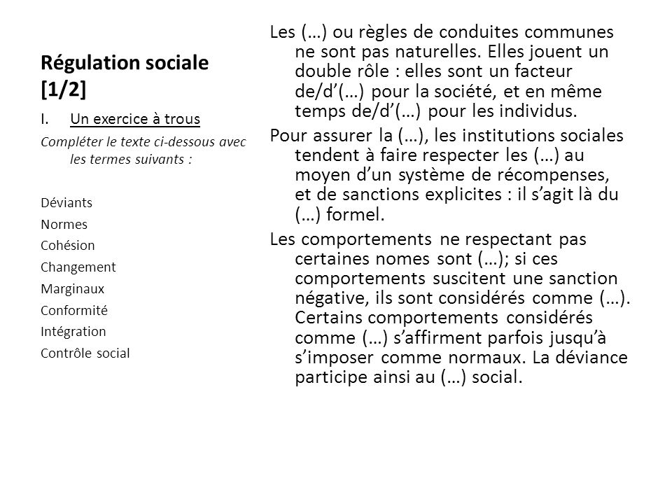 Régulation sociale [1/2]